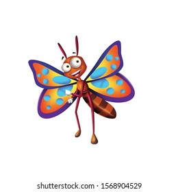 Cartoon character butterfly for book illustrations