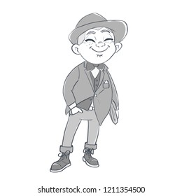Cartoon character card on white background. Young dandy with a hat. Cute illustration. Great britain modern businessman gentleman. Black and white