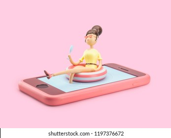 cartoon character chilling in phone like in pool. 3d illustration