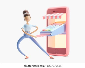 cartoon character with credit card and phone. 3d illustration