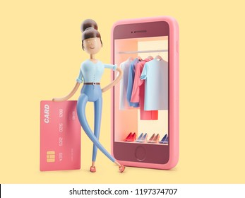 cartoon character with credit card and telephone. 3d illustration. internet shopping