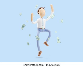 cartoon character dancing with a lot of money. 3d illustration