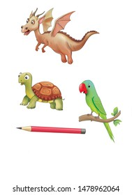 Cartoon character Dragon, tortoises and parrot for book illustrations