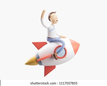 cartoon character flies on a rocket into space. 3d illustration