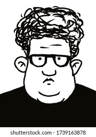 cartoon character funny fat man in glasses with curly hair isolated on white