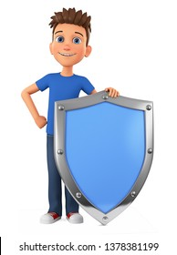 Cartoon character guy holds a big shield on a white background. 3d render illustration.