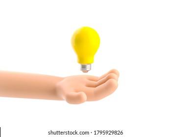 Cartoon-Charakter Hand, die eine Glühbirne hält. 3D-Abbildung.