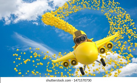 The cartoon character at the head is made of eggs. Wearing a helmet Drive the Yellow plane to scatter balloons. 3D Render.