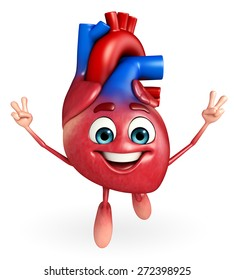 Cartoon Character of heart with Victory pose