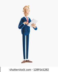 a cartoon character is holding a notebook and smiling. 3d illustration