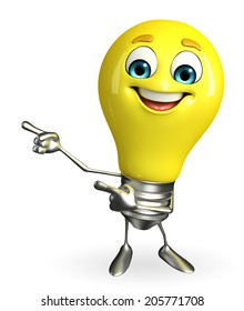 Cartoon Character of light bulb with pointing pose