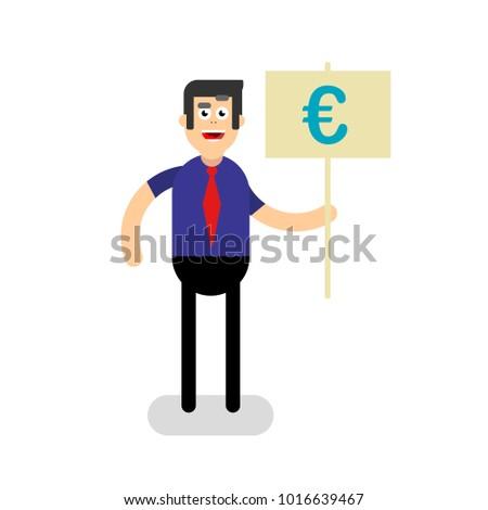 Cartoon Character Man Euro Sign Stock Illustration 1016639467