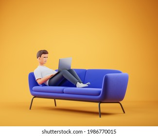 Cartoon character man lying on the blue couch at yellow studio and work on laptop. Work at home concept. 3d render illustration.
