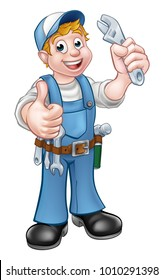 A Cartoon Character Mechanic or Plumber holding a spanner and giving a thumbs up