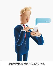 Cartoon character send message from phone. 3d illustration.