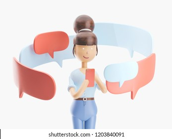 cartoon character is sending a message from his phone. 3d illustration