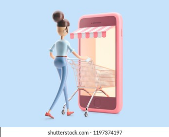 cartoon character with a shopping cart. 3d illustration. internet shopping
