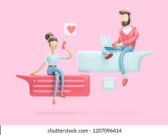 cartoon character sitting on a bubble talk. social media concept. 3d illustration