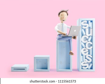 cartoon character sitting on steps with laptop. 3d illustration