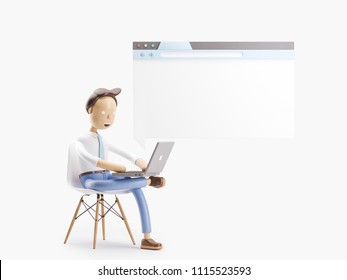 cartoon character sitting on window of website. 3d illustration