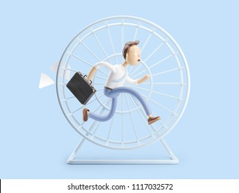 cartoon character spinning like a squirrel in a wheel. 3d illustration