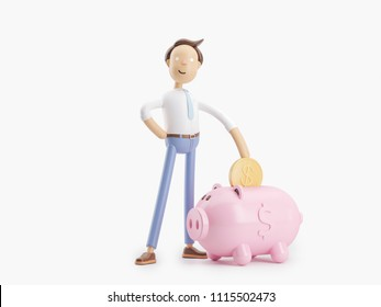 cartoon character stand with coin and money box pig. 3d illustration
