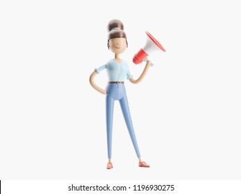 cartoon character stands with a banner and a megaphone. 3d illustration