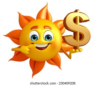 Cartoon Character of sun with dollar sign