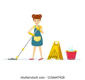 Cartoon character woman. Homemaker, housewife engaged of housework. Affairs woman housewife washes the floor, mop at home in the room. illustration isolated in cartoon style.