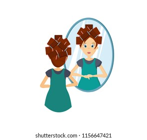 Cartoon character woman. Homemaker, housewife engaged of housework. Affairs girl housewife is standing in front of mirror, doing a hairstyle and do make-up on her face. Illustration in cartoon style.