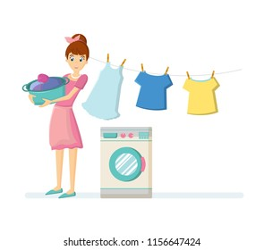 Cartoon character woman. Homemaker, housewife engaged of housework. Affairs woman housewife washing clothes in a washing machine, hang things on a rope for drying. Illustration in cartoon style.