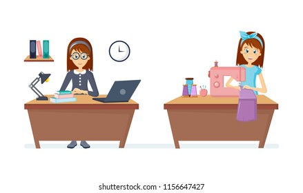 Cartoon character woman. Homemaker, housewife woman engaged of housework. Affairs housewife knits and sews sitting at table at sewing machine things, working on notebook in room. illustration.