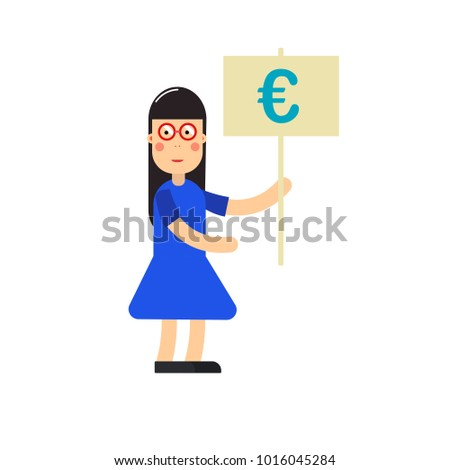 Cartoon Character Young Woman Euro Sign Stock Illustration