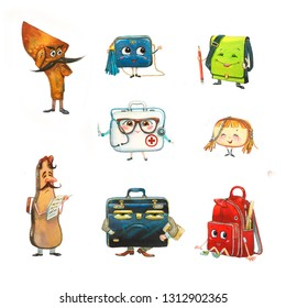 Cartoon characters: different bags on white background: school backpack, holster, first aid kit, violin case, handbags. Watercolor set.