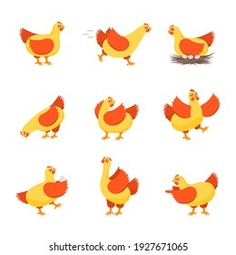 Cartoon Characters Happy Hens Set Cute Chicken Concept Element Flat Design Style. illustration of Character Hen Domestic Bird