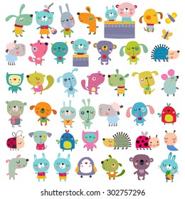 Cartoon characters over white background