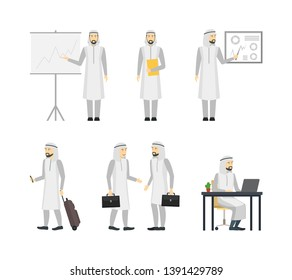 Cartoon Characters People Different Arab Businessman Set Include of Professional Presentation Arabian Man Standing by Board and Business Meeting. illustration