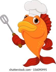 Cartoon chef fish holding a kitchen spatula