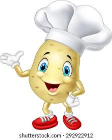 Cartoon chef potato waving hand