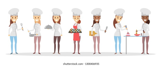 Cartoon chefs set cooking and preparing food.