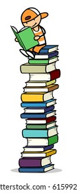 Cartoon of child sitting on pile of books reading and studying