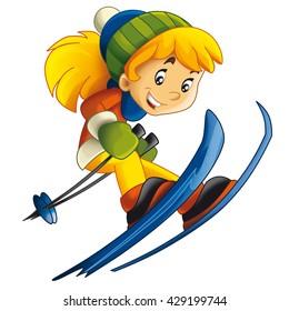 Cartoon child - ski - activity - isolated - illustration for children