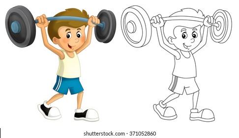 Cartoon child training - isolated - illustration for children
