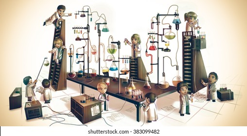 Cartoon children alchemist or scientists kid experimenting chemistry science in massive chemical tower refinery lab with test tube beaker science tool in medieval retro vintage laboratory illustration