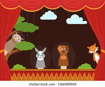 Cartoon Children Puppet Theater with Curtain Background Card Show, Entertainment or Performance Concept Flat Design. illustration