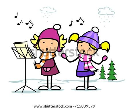 cartoon of children singing christmas songs - Children Christmas Songs