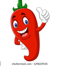 Cartoon chili pepper giving thumbs up