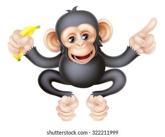Cartoon chimp monkey like character mascot holding a banana and pointing