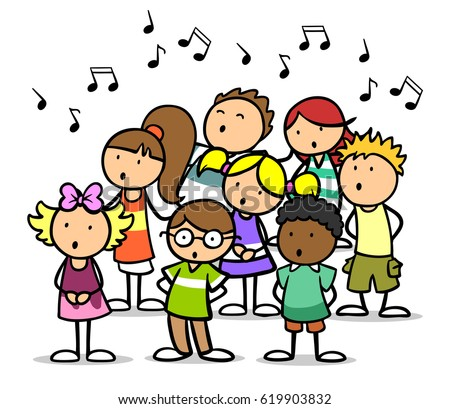 cartoon choir children singing song music stock sign clip art graphic supply song clipart