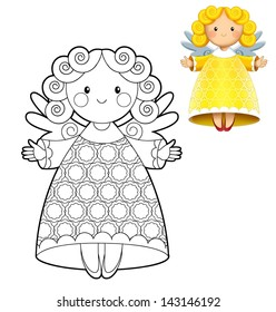 Cartoon christmas angel - coloring illustration - isolated